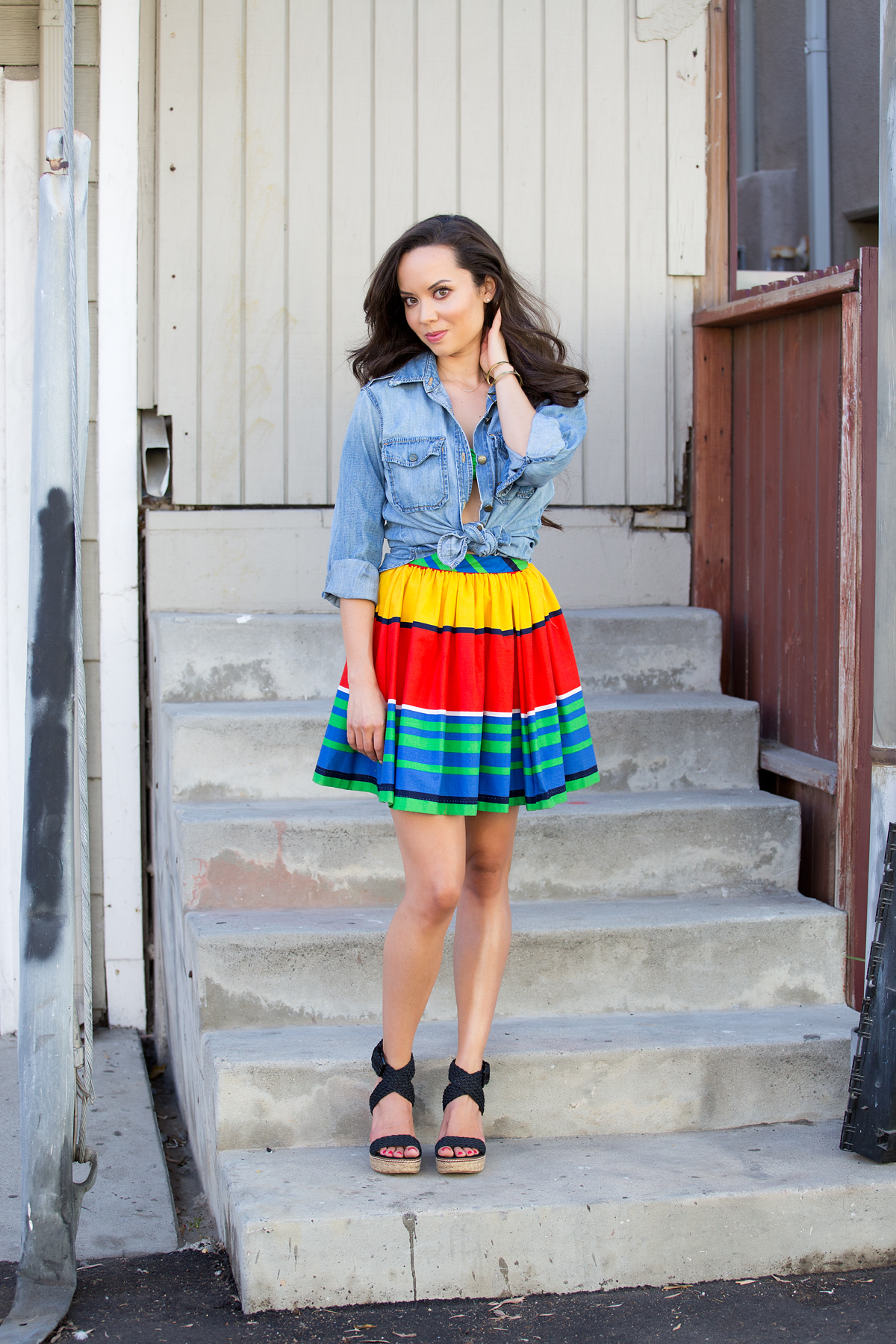 los angeles fashion, striped skirt, fashion blog, style blog, la model, current elliott shirt, denim shirt, two piece, crop top, stuart weitzman wedges, shareen vintage, vintage clothing
