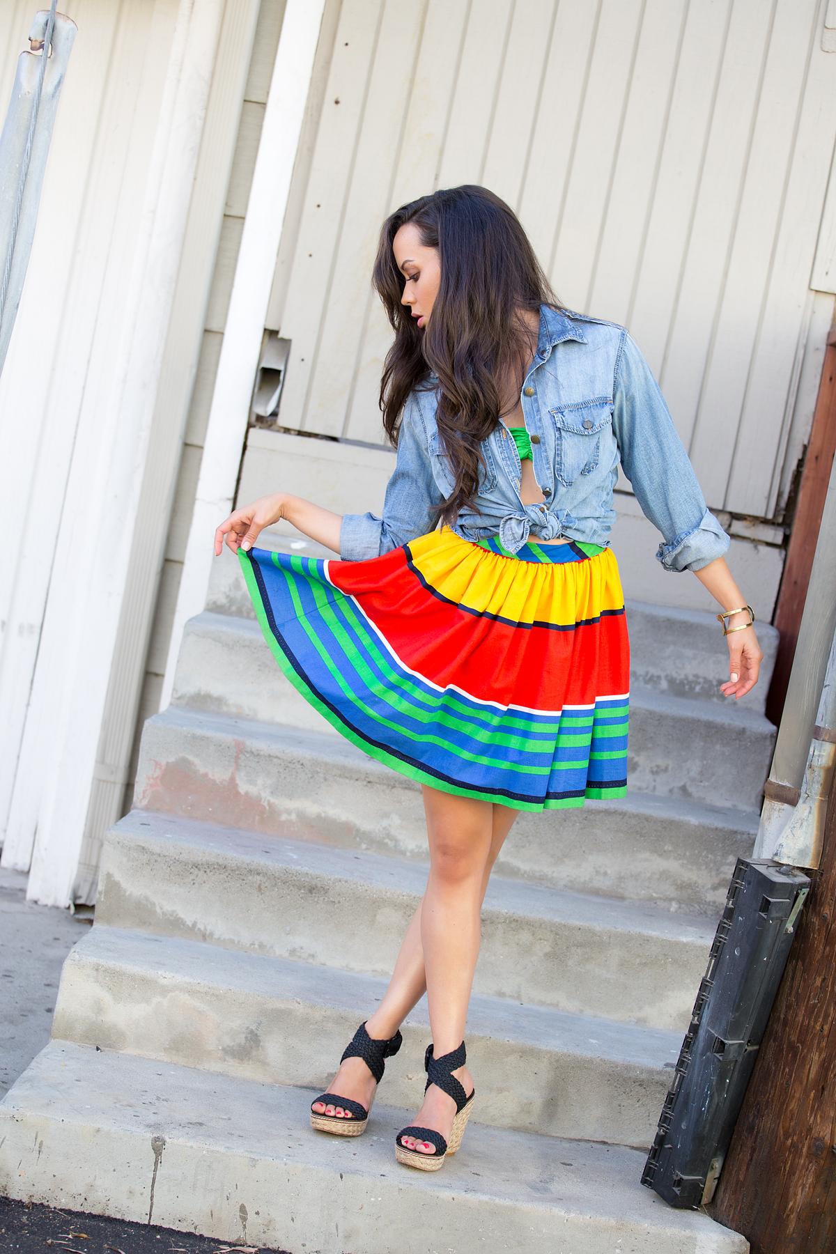 los angeles fashion, fashion blog, style blog, la model, current elliott shirt, denim shirt, two piece, crop top, stuart weitzman wedges, shareen vintage, vintage clothing