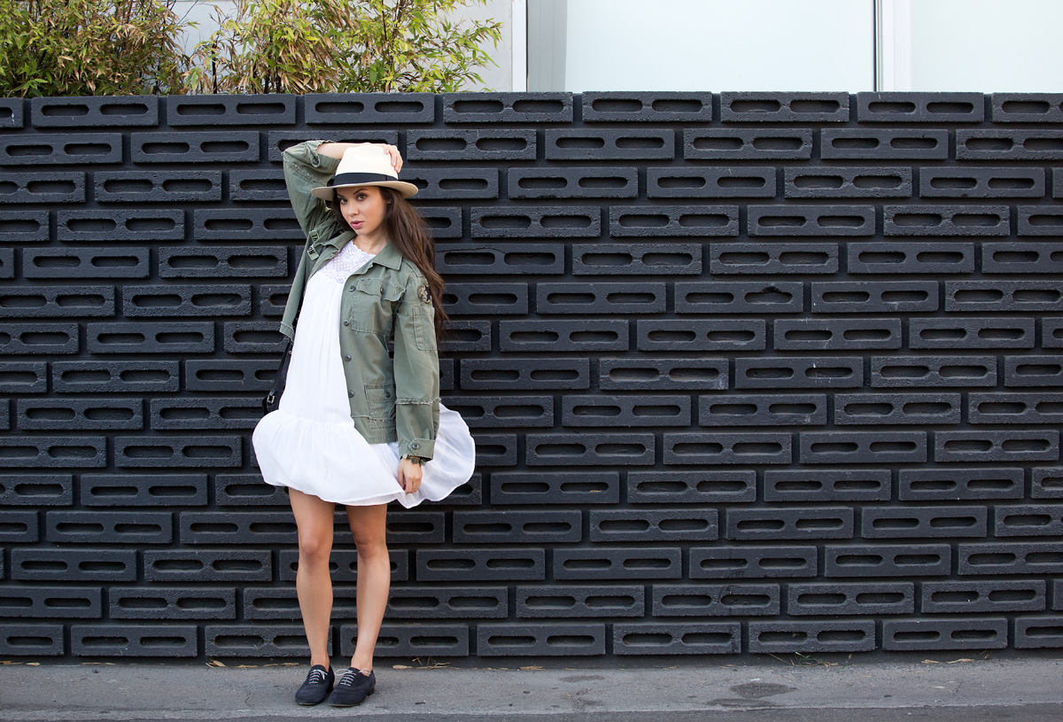 army jacket womens, vintage army jacket, white dress, michelle mason, mason dress, j crew panama hat, panama hat, phillip lim purse, women's oxfords, anniel shoes, the la survival guide, la survival guide, venice beach, model los angeles, camille newbern