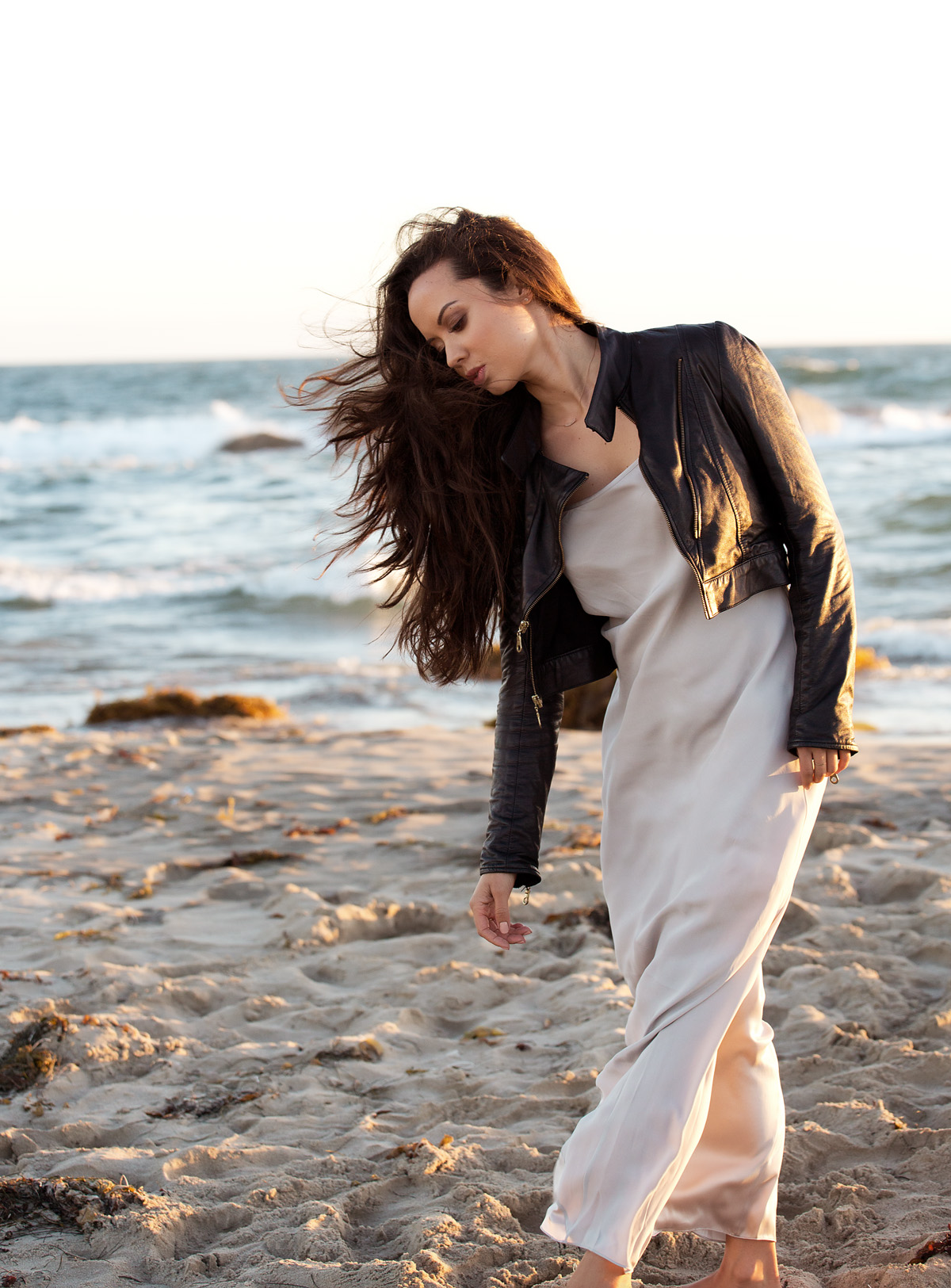 fashion blog, venice beach, los angeles, la model, ballerina, dancer, michelle mason, leather jacket, alexander wang dress, sunset