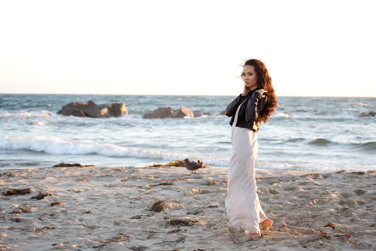 venice beach, los angeles, la model, ballerina, dancer, michelle mason, leather jacket, alexander wang dress, sunset, fashion blog