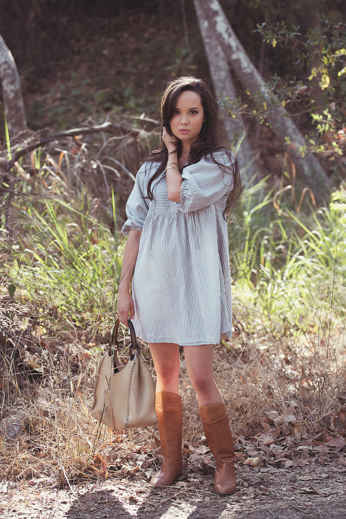 denim dress, vintage boots, cowboy boots, drybar, current elliott dress, XIV karats necklace, gucci purse, los angeles, la model, striped dress