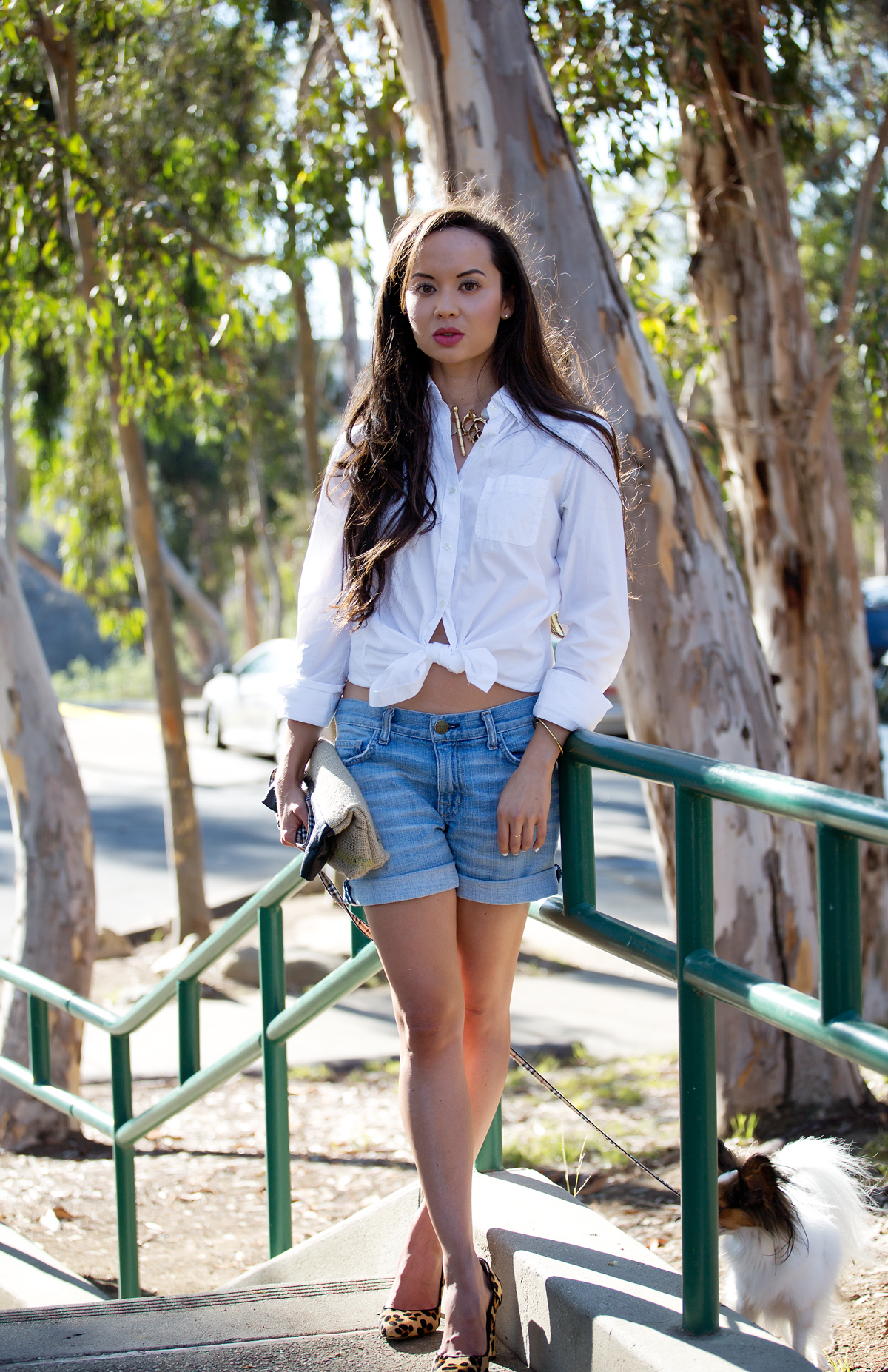 sincerely jules, song of style, fashion blog, la style, la fashion, la model, style blog, uniqlo shirt, white button down, current elliott shorts, burlap clutch, kelly wearstler jewelry, papillon, zara heels, leopard heels, camille newbern, the la survival guide, la survival guide