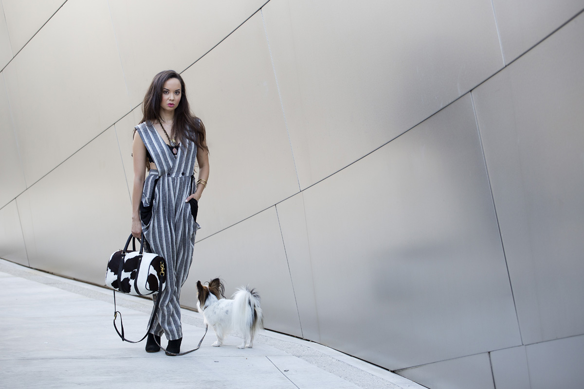 the la survival guide, la survival guide, camille newbern, walt disney concert hall, la style, vintage jumpsuit, kelly wearstler necklace, striped jumpsuit, gold cuff, steve madden booties, black booties, clare vivier bag, clare vivier purse, eurasian model, shopping los angeles, vintage shopping los angeles, papillon