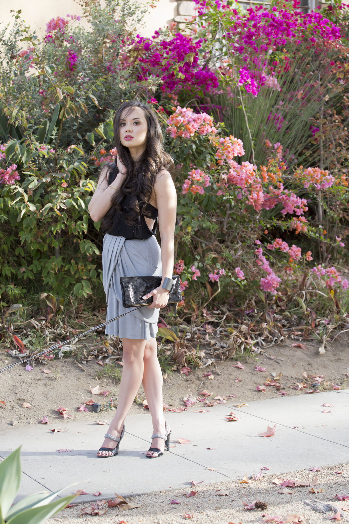 grey draped skirt, camille newbern, ootd, ootn, fashion blog, fashion blogger, eurasian models, eurasian actresses, the la survival guide, la survival guide, thelasurvivalguide, lasurvivalguide, michele lobosco, drybar, drybar cosmo, drybar blowout, long hair blowout, blushington, blushington makeup, enamel diction, enamel diction nail art, los angeles nail art, papillon, la shopping, los angeles shopping, modeling la, modeling los angeles, alexander wang tank, alexander wang skirt, wang tank, wang skirt, prada sandals, prada heels, prada shoes, black leather clutch, black clare vivier clutch, clare vivier clutch, kelly wearstler, kelly wearstler jewelry, kelly wearstler cuff, xiv karats necklace, xiv karats jewelry