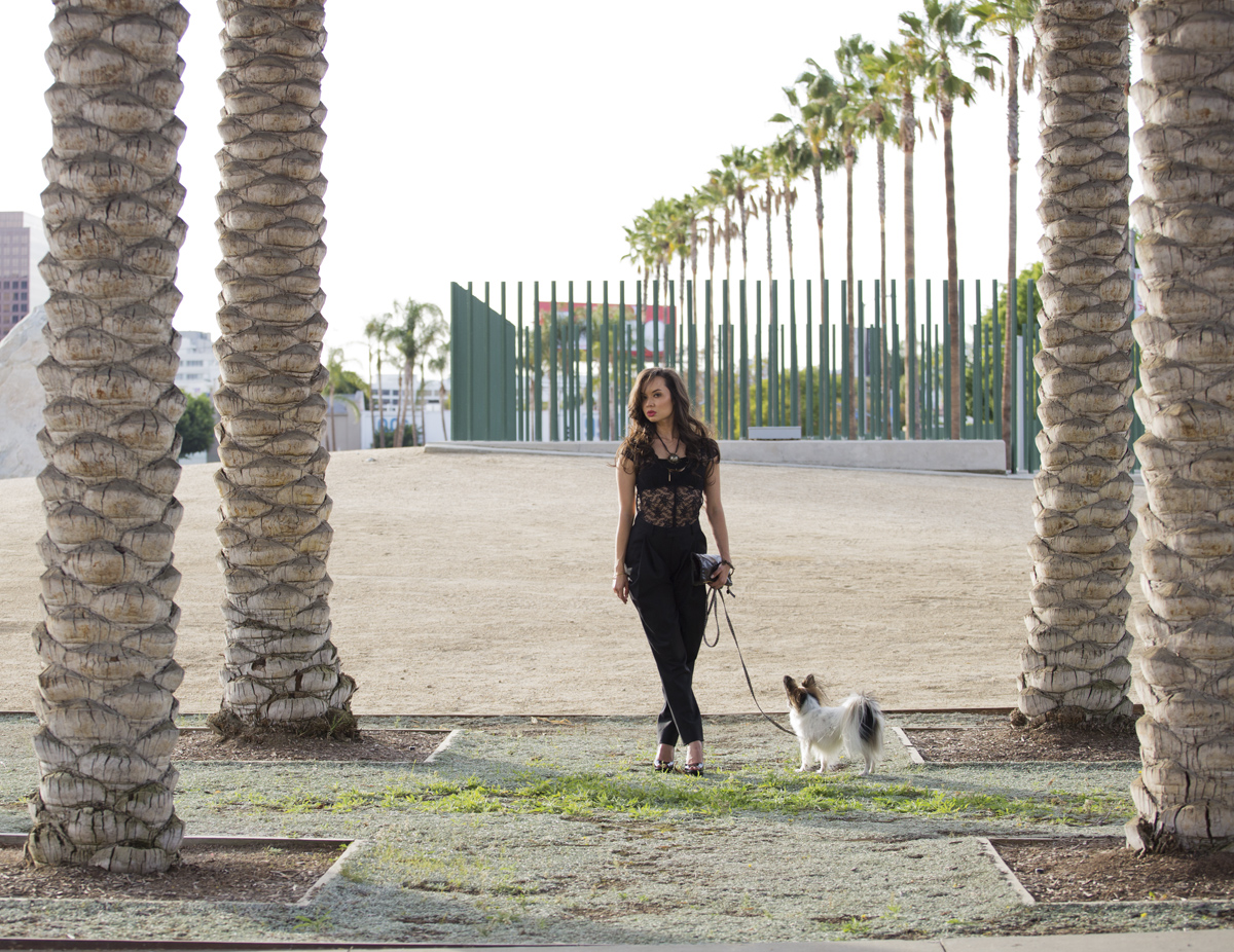 camille newbern, the la survival guide, la survival guide, papillon, lacma, lacma rock, lacma photoshoot, lace bodysuit, sleeveless lace bodysuit, band of outsiders pants, black womens pants, black womens trousers, black womens baggy pants, holiday style, christmas outfits, holiday outfits women, pour la victoire shoes, black peep toe heels, black patent heels,  clare vivier clutch, black clutch, black leather clutch, black leather envelope clutch, drybar blowout, blushington makeup, enamel diction, enamel diction nail art, eurasian model, modeling los angeles, modeling la, shopping la, shopping los angeles, statement necklace, kelly wearstler jewelry