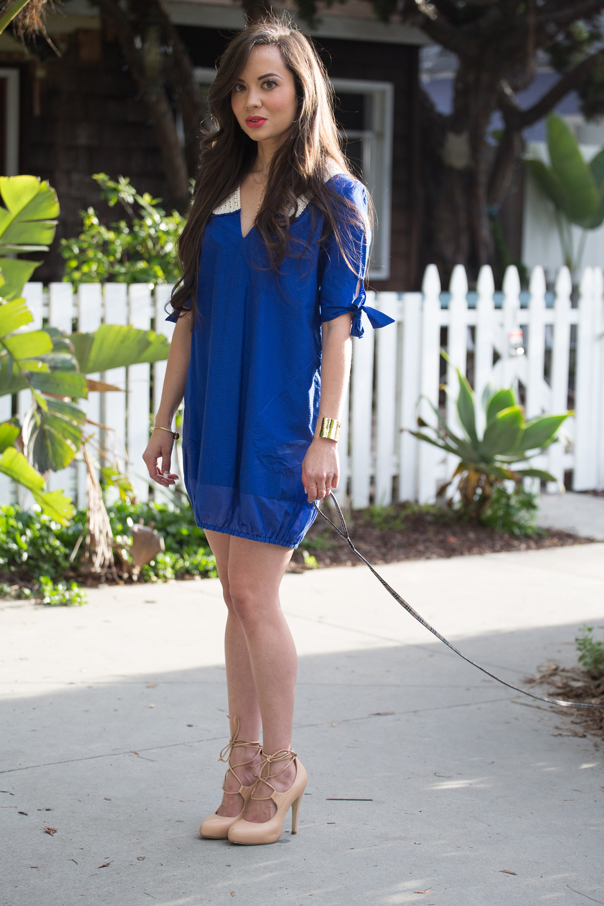 royal blue short sleeve dress, ootd, lerario beatriz, lerario beatriz dress, royal blue dress, royal blue short sleeve mini dress, royal blue mini dress, royal blue collar dress, kathryn amberleigh, kathryn amberleigh pumps, kathryn amberleigh heels, nude pumps, nude heels, nude laceup pumps, nude laceup heels, nude lace up pumps, nude lace up heels, perfect blowout, long hair model, model eyelashes, model perfect lips, artelier globe cuff, artelier map cuff, kelly wearstler necklace, gold collar necklace, kelly wearstler cuff, kelly wearstler bracelet, kelly wearstler jewelry, venice beach canals, venice canals, venice beach canals shoot, venice beach canals photo shoot, drybar, blushington, enamel diction, drybar cosmo blowout, drybar model, drybar blowout, blushington makeup, enamel diction nail art, enamel diction manicure, los angeles nail art, jouer grace, off duty model style, los angeles spring clothes, camille newbern, papillon, the la survival guide, la survival guide, thelasurvivalguide, lasurvivalguide, eurasian models, eurasian actresses, los angeles fashion blogs, los angeles style blogs, shopping la, shopping los angeles, modeling la, modeling los angeles, long hair blowout, smile model, modeling smile, dog smile, papillon, papillon dog, los angeles photo shoot, model on dog walk, dog and model