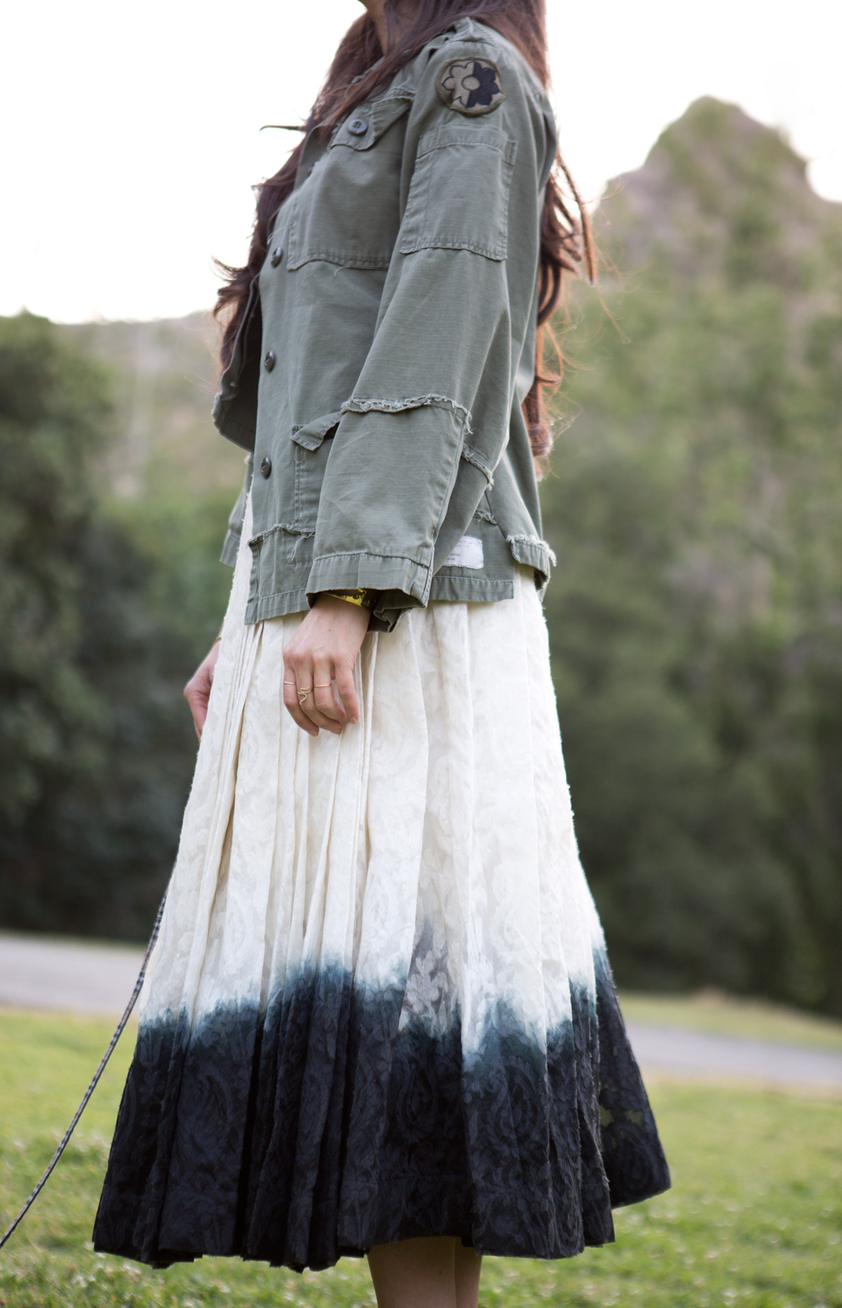 ombre full skirt, ombre skirt, ombre long skirt, dip dye skirt, white full skirt, white swirl skirt black white full skirt, black white swirl skirt, india skirt, indian long skirt, lna vneck, lna white vneck, vintage army jacket, womens vintage army jacket, womens army jacket, womens cropped army jacket, iro heels, iro sandals, iro black heels, iro black sandals, life changes, dealing with change, swirling skirt, twirling skirt, michele lobosco, photographer michele lobosco, la photo shoot, los angeles photo shoot, model on dog walk, dog and model, off duty model style, la style, los angeles style, model eyelashes, model street style, gold bodychain, gold body chain, body chain, bodychain, street style, la street style, ootd, ootn, model lips, perfect lips, camille newbern, the la survival guide, la survival guide, thelasurvivalguide, lasurvivalguide, los angeles fashion blogs, los angeles style blogs, drybar, drybar model, drybar blowout, long hair blowout, blushington, blushington weho, blushington makeup, papillon, papillon dog, eurasian models, eurasian actresses, shopping los angeles, shopping la, modeling la, modeling los angeles, jouer grace, xiv karats, xiv karats necklace, xiv karats diamond necklace, catbird rings, artelier world cuff, map cuff, griffith park photo shoot